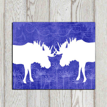 Navy home decor Blue white Moose wall art print Navy office wall decor Blue canvas art Dorm decor Woodland decor  5x7 8x10 INSTANT DOWNLOAD