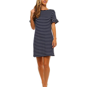 Navy Blue Striped Knit Dress with Ruffled Sleeves