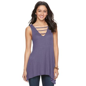 Juniors' Mudd® Shark-Bite Ladder Tunic Tank