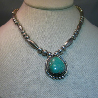 """Sterling Silver Navajo Old Pawn Navajo Pearl & Tube Beaded Turquoise Necklace, 1"""" 23.80 grams, Vintage"""