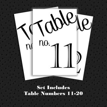 Table Numbers 11-20 for Wedding or other event. Printable, Instant Download.  Black and White Table Numbers Simple Casual table numbers 4x6.