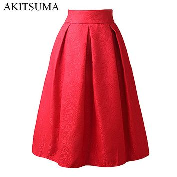 AKITSUMA Summer Midi Skirts Womens High Waist A-Line Skirt Knee-Length Casual Solid Polyester Skirt Red White Black