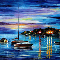 "Mystery Of The Night — PALETTE KNIFE2 Oil Painting On Canvas By Leonid Afremov - Size 30"" x 40""(75cm x 100cm)"