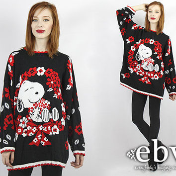 Plus Size Vintage 90s Snoopy Sweater 1X 2X Xmas Sweater Tacky Christmas Sweater Holiday Sweater Ugly Christmas Sweater Plus Size Sweater