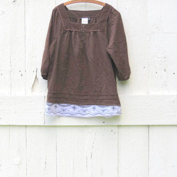 Peasant Blouse , Upcycled Brown Peasant top Women size Med Large Boho Chic Eco friendly bohemian clothing recycled repurposed by wearlovenow