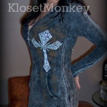 SEXY ACID MINERAL BLACK THERMAL VINTAGE CROSS LOW CUT HOODIE JACKET TOP BIKER M