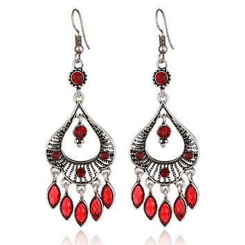 Red and Silver Boho Chandelier Earrings