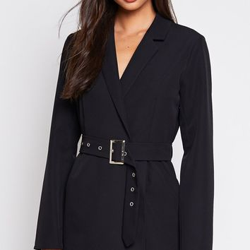 Have A Fit Long Sleeve V Neck Belted Blazer Mini Dress - 2 Colors Available