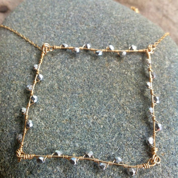Gold and Silver Necklace Square Necklace Pendant Simplicity and Modern Necklace