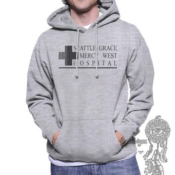 JUST LOGO Seattle Grace Mercy Hospital Black print on Light Steel or White Unisex Hoodie