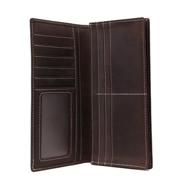 BLUESEBE MEN HANDMADE GENUINE LEATHER LONG WALLET 196-1