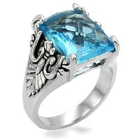Victoria Square Aqua Blue CZ Stainless Steel Ring