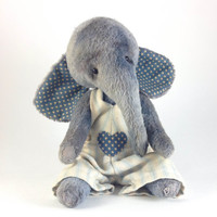Blue Elephant Teddy Viscose Soft Toy Art Artist Gift OOAK Cute Collectible Little Animal