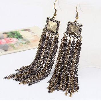 Exaggerated Retro Metal Box Tassel Earring, Fashion Jewelry, Party Jewelry, Birthday Gifts, Gift for Friends, Handcrafted Jewelry 11010239