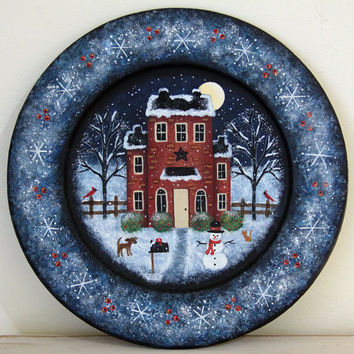 Christmas Decoration Folk Art Wood Plate - MADE TO ORDER - Primitive hand painted saltbox house, snowman, dog, cat, snowflakes, winter scene