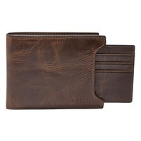 Men's Fossil 'Derrick' Leather 2-in-1 Wallet - Brown