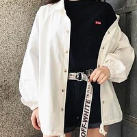 OFF-WHITE Tide brand men and women models high street wild canvas letter logo belt silver&white