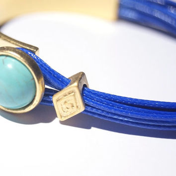 Turquoise Stone Gold Wrap, Cuff Bracelet with Blue