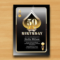 Poker Playing Card Gold birthday invitation, Casino gold glitter design invitation any age 30th 40th 50th 60th 70th 80th 90th - card 244