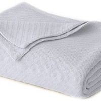 Cotton Craft - 100% Soft Premium Cotton Thermal Blanket - King Sky Blue - Snuggle in these Super Soft Cozy Cotton Blankets - Perfect for Layering any Bed - Provides Comfort and Warmth for years
