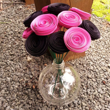 Paper Flower Bouquet - 16 Mini Black and Pink Paper Flowers - Handmade Paper Flowers for Brides, Weddings, Showers, Birthdays