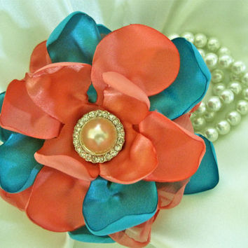 Coral and Teal Romantic Pearl Wrist Corsage Cuff Bracelet Bride Bridesmaid Mother of the Bride  with Pearl Rhinestone Accents. Ready to Ship