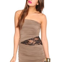 Laced Drape Dress - Mocha in  Sale Dresses at Nasty Gal