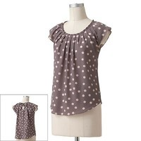 LC Lauren Conrad Polka-Dot Pleated Top