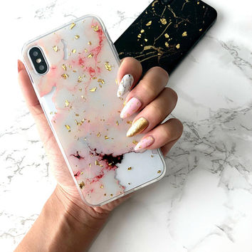 CHAMPAGNE MARBLE, Rose Gold Marble x Gold Flakes Stunning iPhone X Case iPhone 8 Case iPhone 7 Case iPhone 6s Plus Case Marble Phone Cover