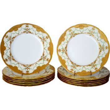 "Set of 12 Minton 10 1/4"" Dinner Plates ~  Gold  Enamel Paste ~ Mintons Stoke on Trent, Staffordshire England, circa 1890-1920  for Davis Collamore Fifth Ave New York"