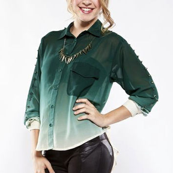 Spiked Ombre Blouse