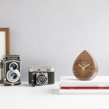 Raindrop walnut clock - brass hands