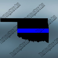Oklahoma Back the Blue Flag Thin Blue Line Vinyl Decal | Yeti Cop Decal | Distressed American Flag | Blue Lives Matter | 438