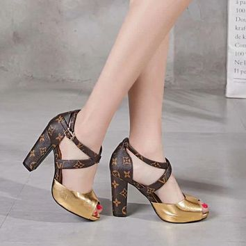 LV Louis Vuitton Fashion Trending Leather Women High Heels Shoes Women Sandals Heel