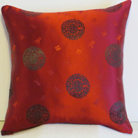 "Pillow Covers 18"" Set of Two Red and Black Oriental Theme"