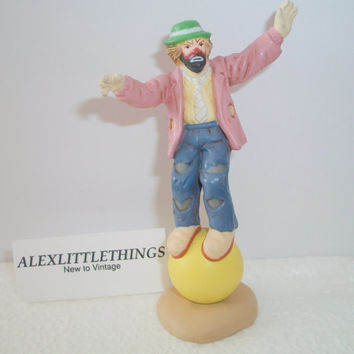 Vintage Emmett Kelly Jr. Flambro Hobo Clown Figurine Standing On Ball