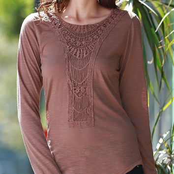 Solid Color Crochet Paneled Long Sleeve Top