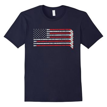 Hockey Stick USA Flag Faded Hockey Player T-shirt