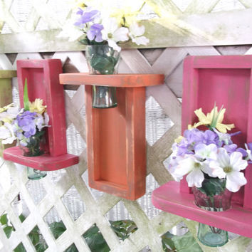 Set of Four Wall Vase Shelves with Recessed Vases by datedbydesign