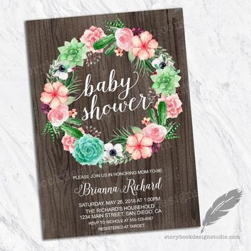 Succulents Wood Baby Shower Invitations