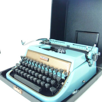 turquoise typewriter DISPLAY ONLY 1950s decor teal vintage mid century underwood gold underwood golden baby blue aqua antique typewriters
