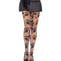 Black & Grey Contrast Woven Floral Sheer Tights