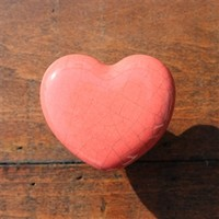 Crackled Ceramic Heart Drawer Knobs in pale red