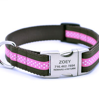 Mini Polka Dot Dog Collar With Personalized Buckle - Chocolate/Hot Pink