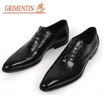 GRIMENTIN Brand genuine leather mens wedding shoes crocodile style black brown Italian men formal shoes