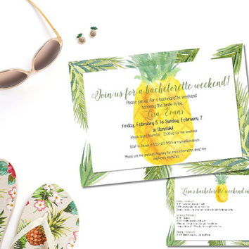 PRINTABLE bachelorette weekend invitation/ girls weekend invitation/ tropical pineapple weekend invitation / bachelorette weekend itinerary