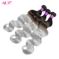 3pcs/lot Two Tone Ombre Silver Grey Hair Weave 1b/Gray Brazilian Virgin Human Hair Extensions