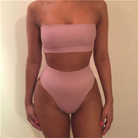 Newest 2017 Strapless Sexy Bikini Set Push-up Padded Swimsuit Bathing Swimwear Suit For Women S-XL 7 Colors High Quality Biquini Black Pink