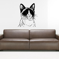 Snowshoe Cat Breed Cat Kitten Pet Animal kitty moggy Feline Puss Pussy Pussycat Mouser Cute Fluffy Grumpy Wall Sticker Decal 3549