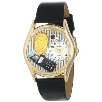 SheilaShrubs.com: Women's Police Officer Black Leather Watch C-0620013 by Whimsical Watches: Watches